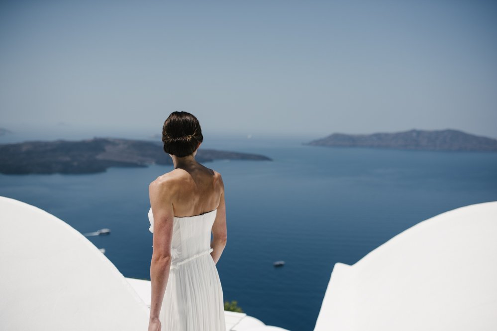 Bride captured by Damien Milan, Santorini Wedding Photographer.