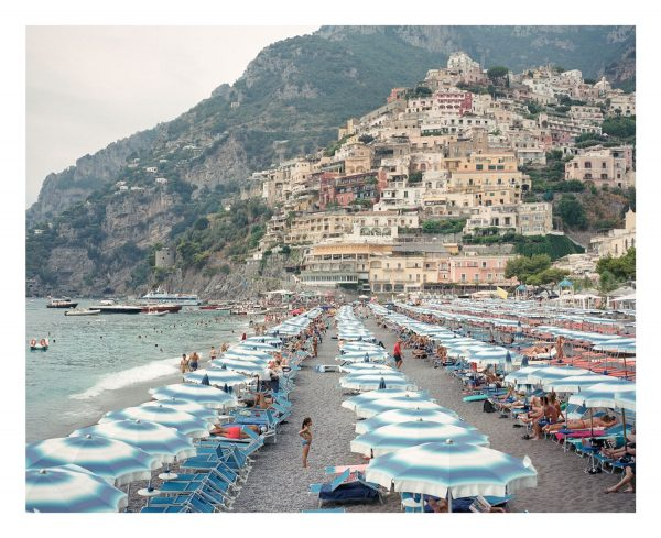 Positano beach on the Amalfi coast, medium format film photograph.