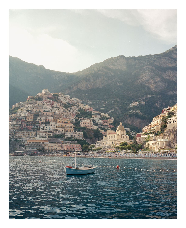 Positano beach on the Amalfi coast, medium format film photograph.