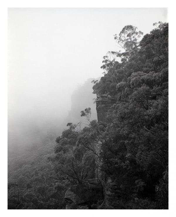 Mist on Sunset Rock, Mount Victoria, Blue Mountains fine art print by Damien Milan.
